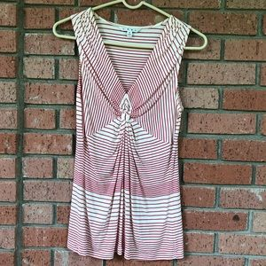 Cabi red and white stripe twist tank